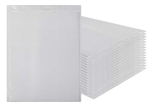 White Poly bubble mailers 12.5 x 18 Padded envelopes 12 1/2 x 18 by Amiff. Pack of 10 Large Poly cushion envelopes. Exterior size 13x19 (13 x 19). Peel and Seal. Mailing, shipping, packing, packaging.