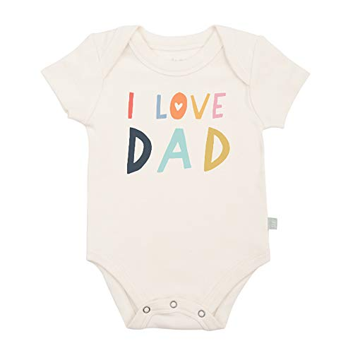 - Finn + Emma Organic Cotton Graphic Bodysuit for Baby Boy Girl – 9-12 Months, Love Dad