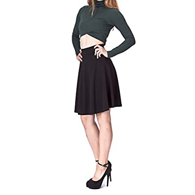 Dani's Choice Simple Stretch A-line Flared Knee Length Skirt at Women's Clothing store