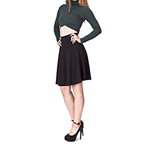 Dani's Choice Simple Stretch A-line Flared Knee Length Skirt