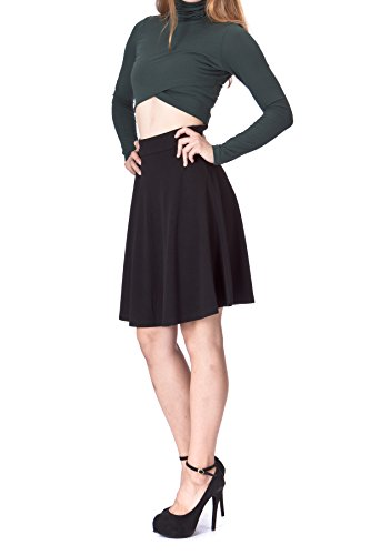 Simple Stretch A-line Flared Knee Length Skirt (S, Knee Black)