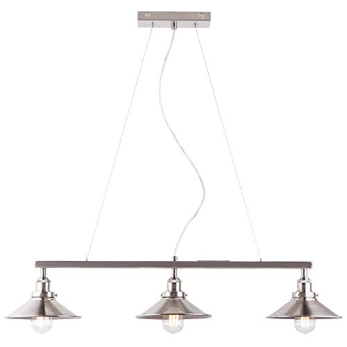 Andante 3 Light Kitchen Island Light Fixture, Brushed Nickel, Linea di Liara - Century Desk Lamp 20th