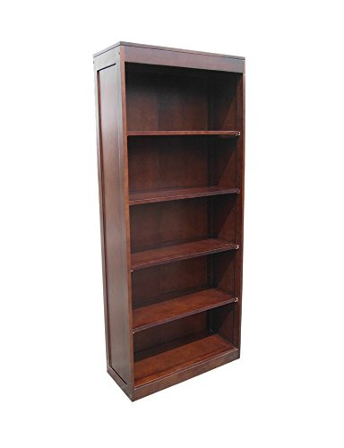 (Offex Mahogany Wood Solid Open Front Tall Library Bookcase )