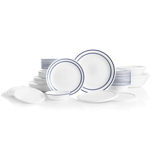 CORELLE 78-Piece Service for 12, Chip Resistant, Classic Café Blue Dinnerware Set, (Corelle Dinnerware White French)