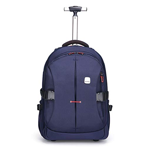 Funny & Special 19 inches Large Storage Laptop Travel Rolling Backpack Waterproof Wheeled for Men and Women Business,Students Multifunction (Navy Blue)