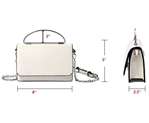 Genuine Fashion JeHouze Leather Black Strap Purse Metal Crossbody Handbag Women dOqdE