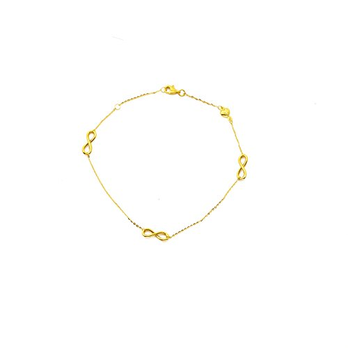 LoveBling 10K Yellow Gold .5mm Diamond Cut Rolo Chain with a Tri Infinity Symbol & Heart Charm Anklet Adjustable 9