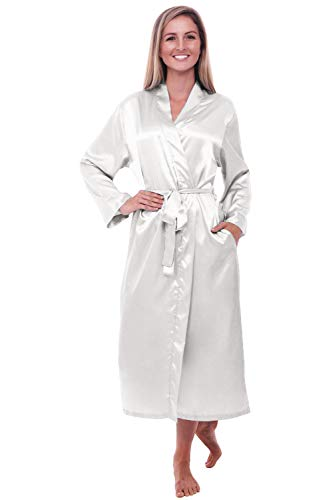 Alexander Del Rossa Womens Satin Robe, Long Dressing Gown, XL Off White (A0755OFWXL)