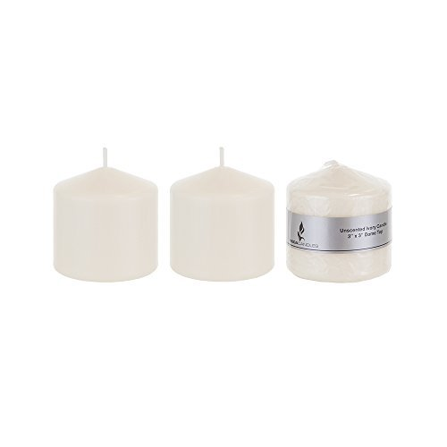 Mega Candles 3 pcs Unscented Ivory Round Pillar Candle, Pressed Premium Wax Candles 3 Inch x 3 Inch, - http://coolthings.us