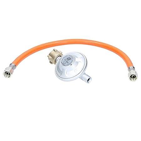 ECD Germany Régulateur de pression 50 mbar avec fusible d'air intégré + Tuyau de gaz 100 cm