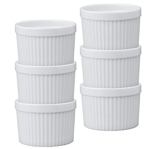 (HIC Deep Souffles, Porcelain, 2.75-Inch x 3.75-Inch, 10-Ounce Capacity, Set of 6)