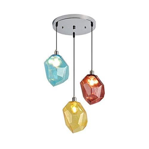 (RMXMY Simple Personality 3-Light Ceiling Lighting, Colored Small Pendant Light Fixture, Polygons Hand Blown Stone Glass Chandeliers for Living Room Dining Room Bedroom Restaurants)