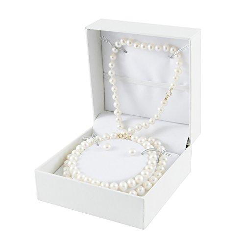 10K-Yellow-Gold-6-65MM-White-Freshwater-Pearl-Earring-75-Bracelet-18-Necklace-Set