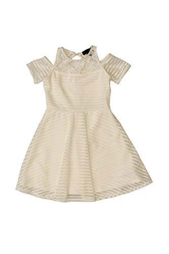 Price comparison product image Ava & Yelly Girls' Shadow Stripe Could Shoulder Dress w / Lace S (7) White