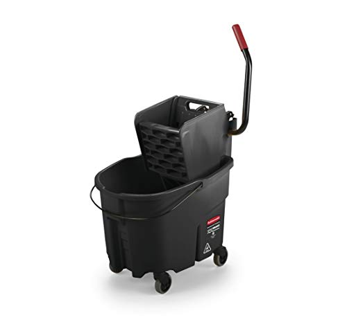 (Rubbermaid Commercial WaveBrake Mopping System Bucket and Side-Press Wringer Combo, 35-quart, Black (1863896))