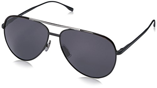 BOSS by Hugo Boss Men's B0782S Aviator Sunglasses, Matte Black/Smoke Polarized, 60 mm