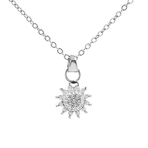 Flower Shape Pendant Short Thin Chain Choker Necklace Zircon Gem Women Party Jewelry Wedding Necklace -