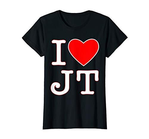 Justin Timberlake Black Shirt - Womens I love JT heart funny JT gift t-shirt for men, women & kids