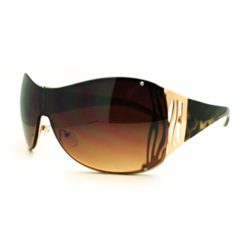 Oversized Shield Sunglasses Womens Trendy Sexy Animal Prints Gold - Sexy Shield