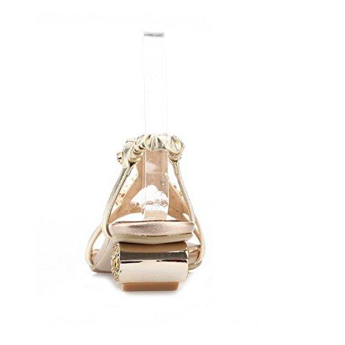 Amoonyfashion Donna Open-toe Tacchi Bassi Materiale Morbido Sandali Con Fibbia In Oro Massiccio