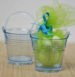 Clear Blue Mini Plastic Bucket, Pails Party (Plastic Favor Pail)
