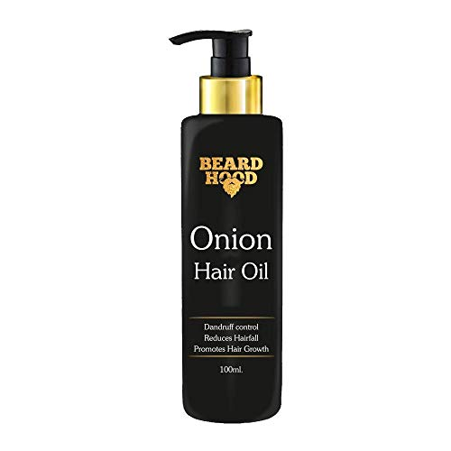 Beardhood Onion Hair Oil for Hair Growth and Hair Fall Treatment with Red Onion Extract, Bhringraj & Argan Oil, 100ml