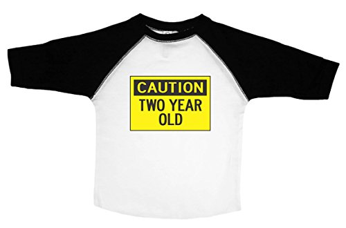 - Funny Tee Shirt for Kids / CAUTION: TWO YEAR OLD / Toddler Shirt / Baffle (3T, 3/4 SLEEVE RAGLAN)