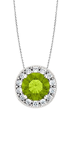 Elite Jewels Sterling Silver Genuine 0.85 tcw. 6mm Round Peridot & Created White Sapphire Pendant with 20