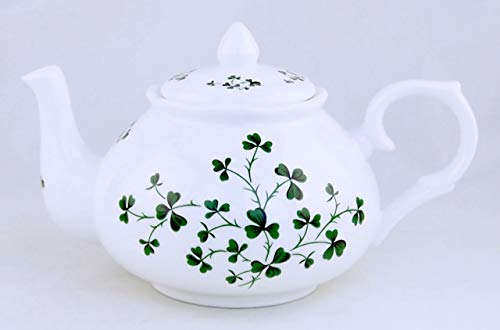 Celtic Shamrock Swirl Chintz Teapot - Fine English Bone China - Crown Trent, England ()