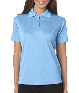 Ultraclub Mens Cool & Dry Elite Mini-Check Jacquard Polo 8305L -ColumBlue L