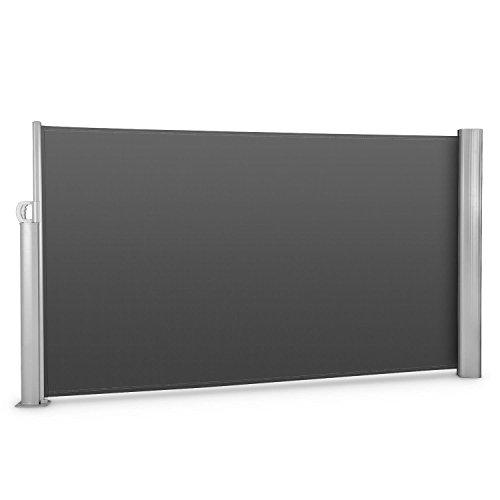 Blumfeldt Bari 316 Seitenmarkise Seitenrollo Sicht- und Windschutz für Terrasse oder Balkon (300 x 160cm, ausziehbar, Aluminium) anthrazit