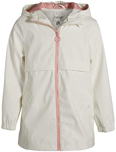 Urban Republic Girls Zip Up Waterproof Raincoat Jacket with Hood, White, Size 10/12