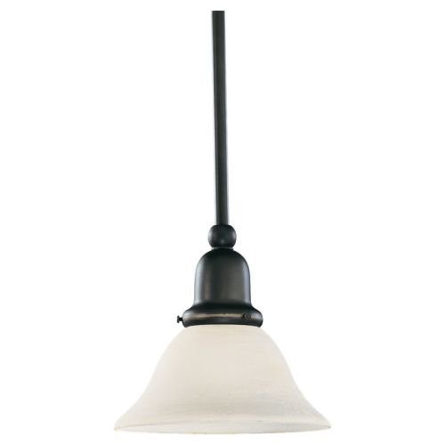 Sea Gull Lighting 69459BLE-782 Single-Light Sussex Fluorescent Energy Star Compliant Mini-Pendant, Satin Etched Glass and Heirloom Bronze