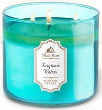 TURQUOISE WATERS Bath & Body Works White Barn 3-Wick Scented Glass Candle with Silver Lid