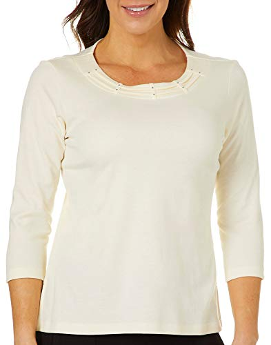 Alfred Dunner Petite Classics Solid Braid Neck Top Medium Petite Cream ()