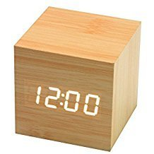 01 Pcs Mini Digital LED Wooden Alarm Clock - Square Wooden Clock - Mini LED Digital Desktop Puzzle Alarm Clock - Electronic Clocks Desk 60 x60 x60 mm (Puzzle Alarm Clock)
