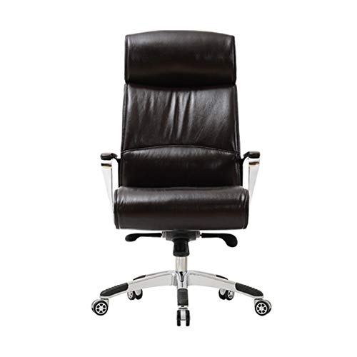 Presidente Ejecutivo del equipo Negro Brown del cuero de respaldo alto jefe Silla ejecutiva de piel Silla de la elevacion de oficina silla giratoria ergonomica con pies de aluminio fijo apoyabrazos pa