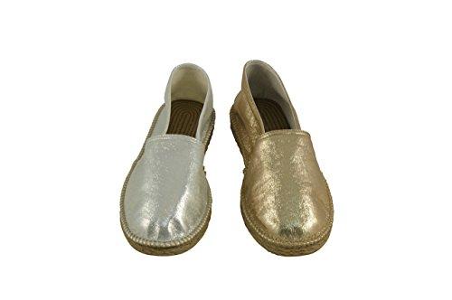 Linea Scarpa Santiago Alpargatas Zapatos de verano Barfussschuh Mujeres Oro y Plata Oro