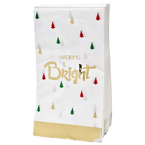 100 Christmas Guest Napkins 3 Ply Disposable Paper Holiday Guest Towels Featuring Merry and Bright in Gold Foil with Christmas Trees in Red, Green and Gold