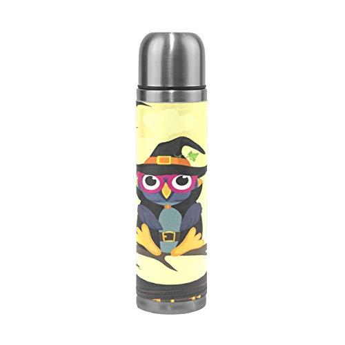 Thermos Halloween Owl In Witch Costume Cycling Insulated Stainless Steel Water Bottle Leak Proof Thermos Leather Cover 17 Oz]()