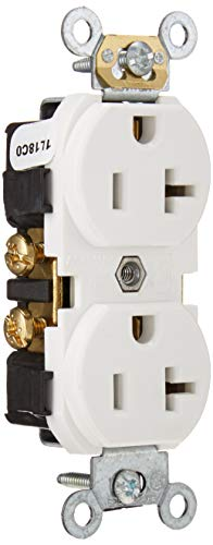 Leviton CR020-W 20-Amp, 125 Volt, Slim Body Duplex Receptacle, Straight Blade, Commercial Grade, Self Grounding, White