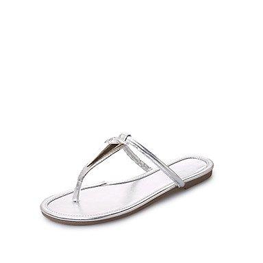 LvYuan Tacón Plano-Confort-Sandalias-Vestido Informal-PU-Negro Plata Oro Silver