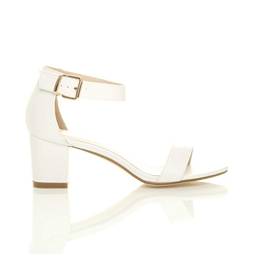 Mid Women Block Heel White Strappy Size Sandals Ajvani Matte q5vdaExWq