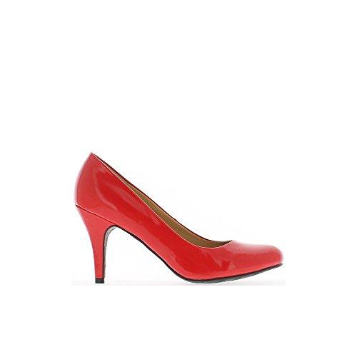 Escarpins femme grande taille rouges vernis à talon de 9,5cm