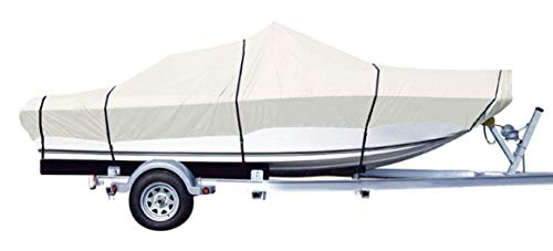 "iCOVER Trailerable Boat Cover- Water Proof Heavy Duty,Fits V-Hull,Fish&Ski,Pro-Style,Fishing Boat,Runabout,Bass Boat,up to 17.5ft-19ft Long and 96""Wide,Grey Color,B6301D-1. (Long 18' Polyester)"