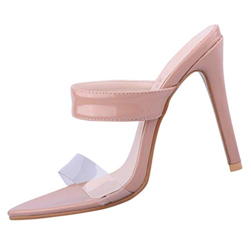 Shoes Stiletto High 3/4 Heel - Sunhusing Female Pointed Toe Stiletto Slippers Casual Transparent Strap Pointed Toe High Heel Sandals Shoes Pink