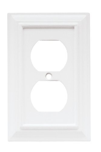 Brainerd 126331 Wood Architectural Single Duplex Wall Plate / Switch Plate / Cover, White Color: White, Model: 126331