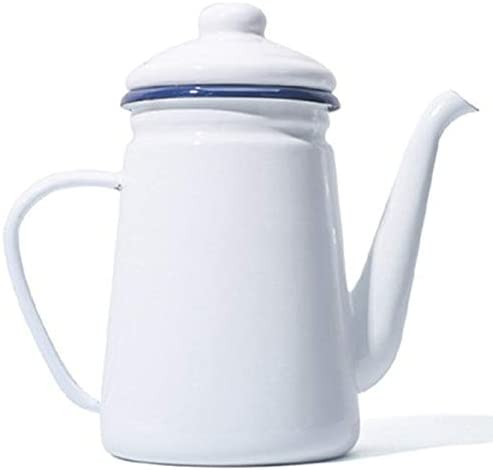 SNOWINSPRING 1.1L High-Grade Enamel Coffee Pot Pour over Milk Water Jug Pitcher Barista Teapot Kettle for Gas Stove and Induction Cooker White