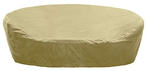 KaufPirat Premium Abdeckplane Rund Ø 250x85 cm Beige Gartenmöbel Gartentisch Abdeckung Schutzhülle Abdeckhaube Outdoor Round Patio Table Cover