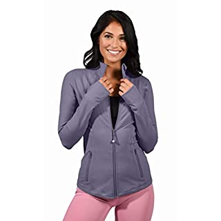 90 Degree By Reflex Women's Lightweight, Full Zip Running Track Jacket - Shadow Petal - Large